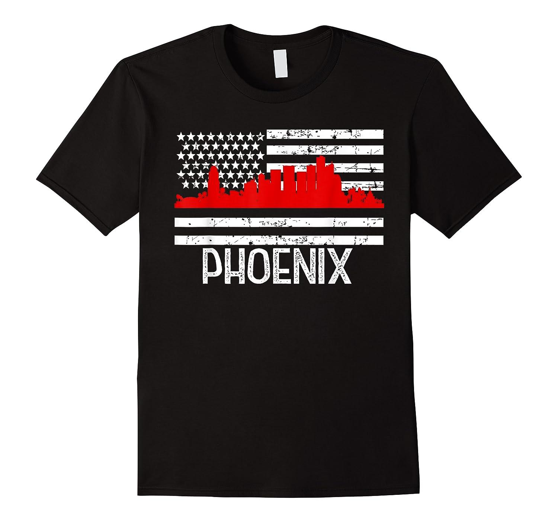 Phoenix Firefighter Red Line Skyline American Flag Hero Shirts