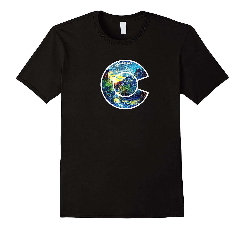 Colorado Mountain C Co Flag Graphic Design By Mcma Premium T-shirt
