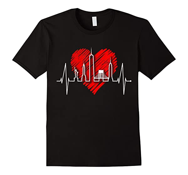 New York Skyline Heartbeat Heart Statue Of Liberty New York T-shirt