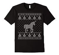 Unicorn Ugly Christmas Sweater, Funny Holiday Gift Shirts Black