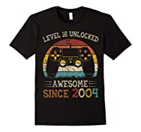 Vintage Video Level 16 Unlocked Gamers 16th Birthday Gifts Shirts Black
