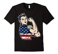 Rosie The Riveter Bandana Feminist Usa Flag 4th Of July T-shirt Black