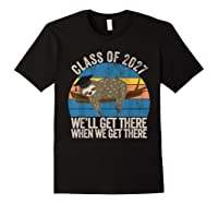 Distressed 5th Grade Class Of 2027 Sloth Grow With Me T-shirt Black