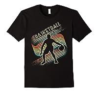 Vintage Retro Basketball Shirt Colorful Tshirt Black