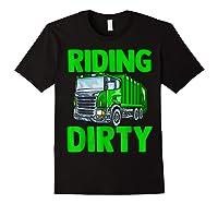 Recycling Trash Garbage Truck Riding Dirty Shirts Black