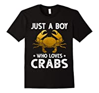 Just A Boy Who Loves Crabs Cute Animals Lovers Shirts Black