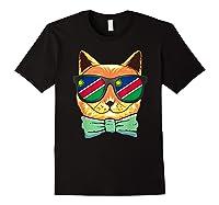 Namibia Flag Namibia Cat Sunglasses Shirt Black