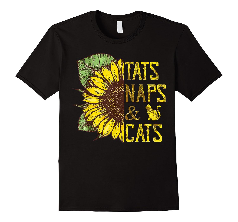 Sunflower Tats Naps & Cats Sunflower Tshirt Cat Lover Gifts