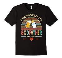 Promoted To Godfather Est 2019 Vintage Arrow Shirts Black