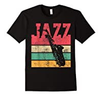 Saxophone Baritone Jazz Music Retro Vintage Gift T-shirt Black