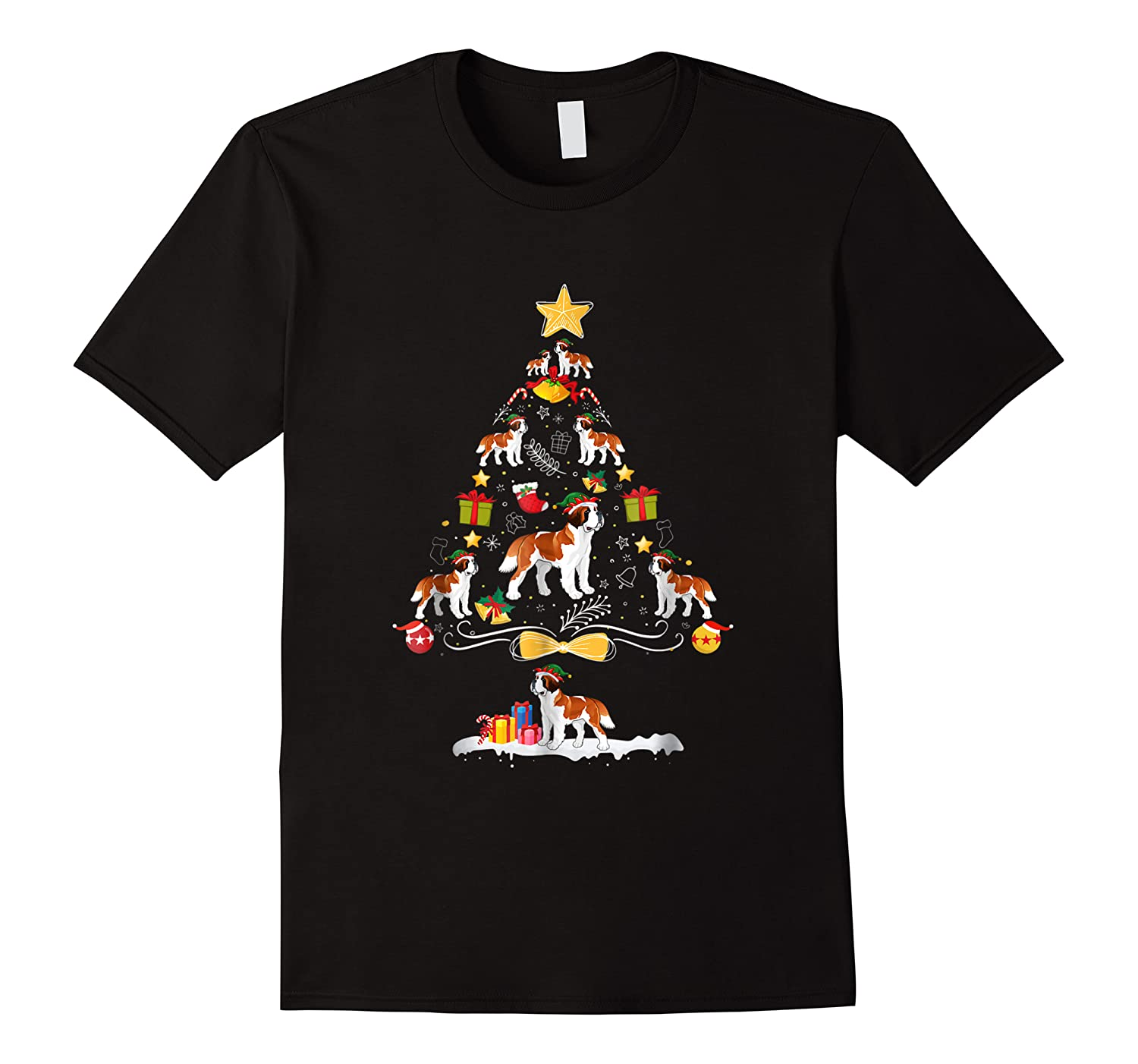Saint Bernard Christmas Tree Dog Owner Gift Shirts