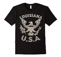 Louisiana Usa Patrio Eagle Vintage Distressed Shirts Black