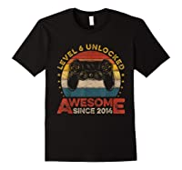 Retro 6th Birthday Gamer Level 6 Unlocked Awesome Since 2014 T-shirt Black