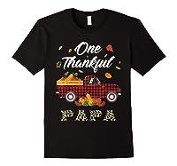 One Thankful Papa Truck Thanksgiving Day Family Matching T-shirt Black