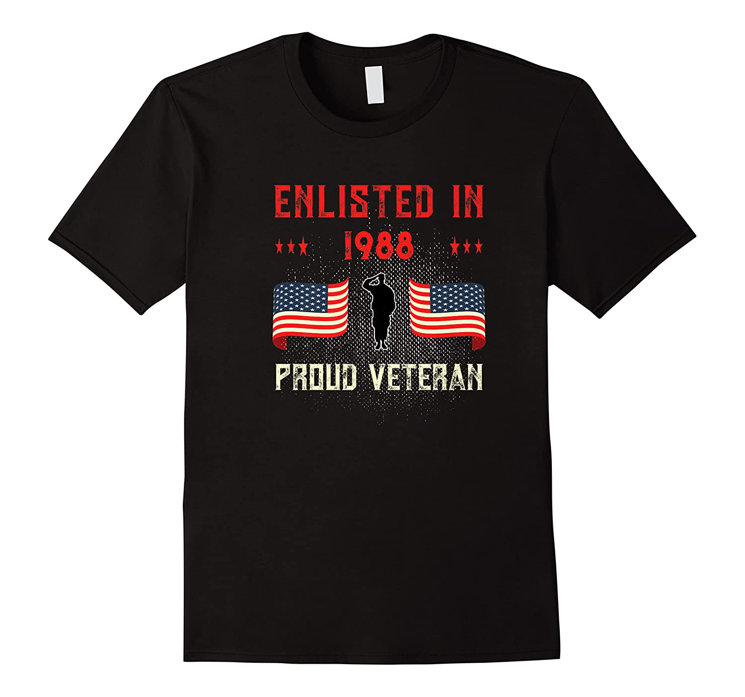 Veteran Enlisted 1988 Quote Proud Vet American Flag Served Shirts