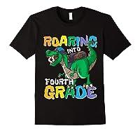 Roaring Into Fourth Grade 4 Dinosaur Back To School Soccer Shirts Black