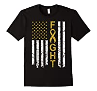 Childhood Cancer Awareness T-shirt American Flag Distresse T-shirt Black