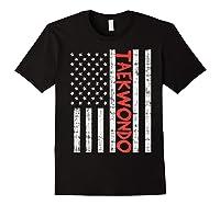 Us Flag Taekwondo Vintage Patriotic Martial Arts Lover Gift T-shirt Black
