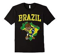 Brazil Soccer Boy Brazilian Football Dabbing Shirts Black