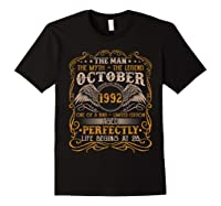 October 1992 Man Myth Legend 28th Birthday 28 Years Old Shirts Black