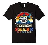 Vintage Grandson Shark T-shirt Birthday Gifts For Family Black