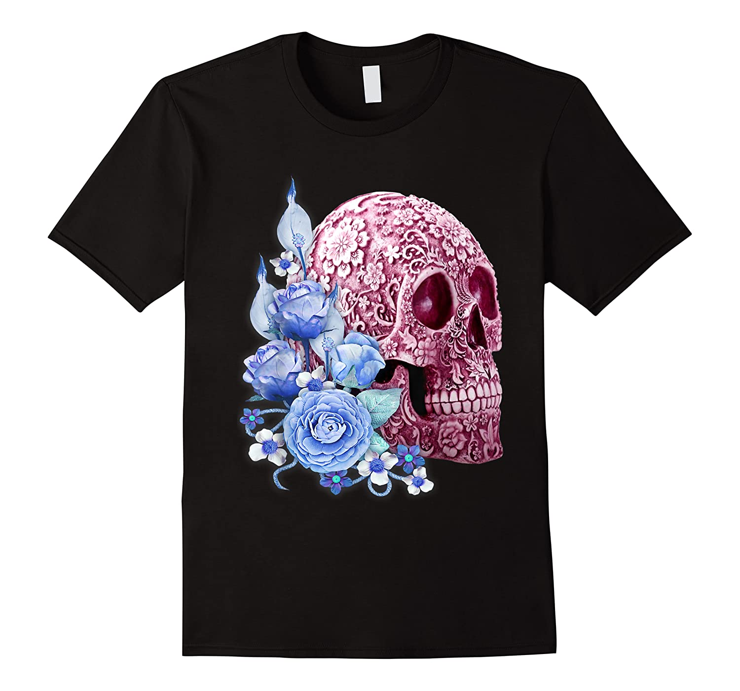 Pink Floral Sugar Skull Day Of The Dead Blue Flowers Shirts