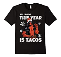Deadpool Santa Hat I Want Tacos Christmas Shirts Black