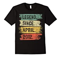 8 Year Old Gifts Legend Since April 2012 8th Birthday Shirts Black