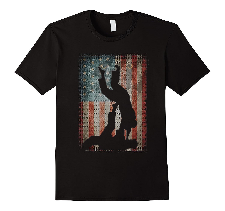 Vintage Flag American Brazilian Jiu-jitsu Lovers Gift Family T-shirt