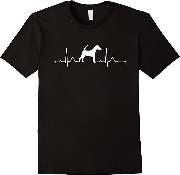 Foxterrier Glatthaar Heartbeat Herz Hunde T-shirt Shirt