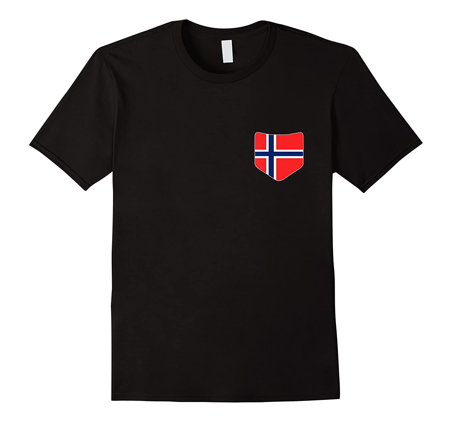Norway Flag T Shirt With Printed Norwegian Flag Pocket