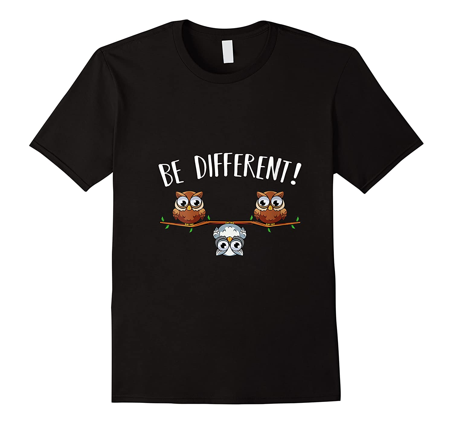 Be Different Owls Funny Animal Bird Lover Kawaii Quotes T Shirt