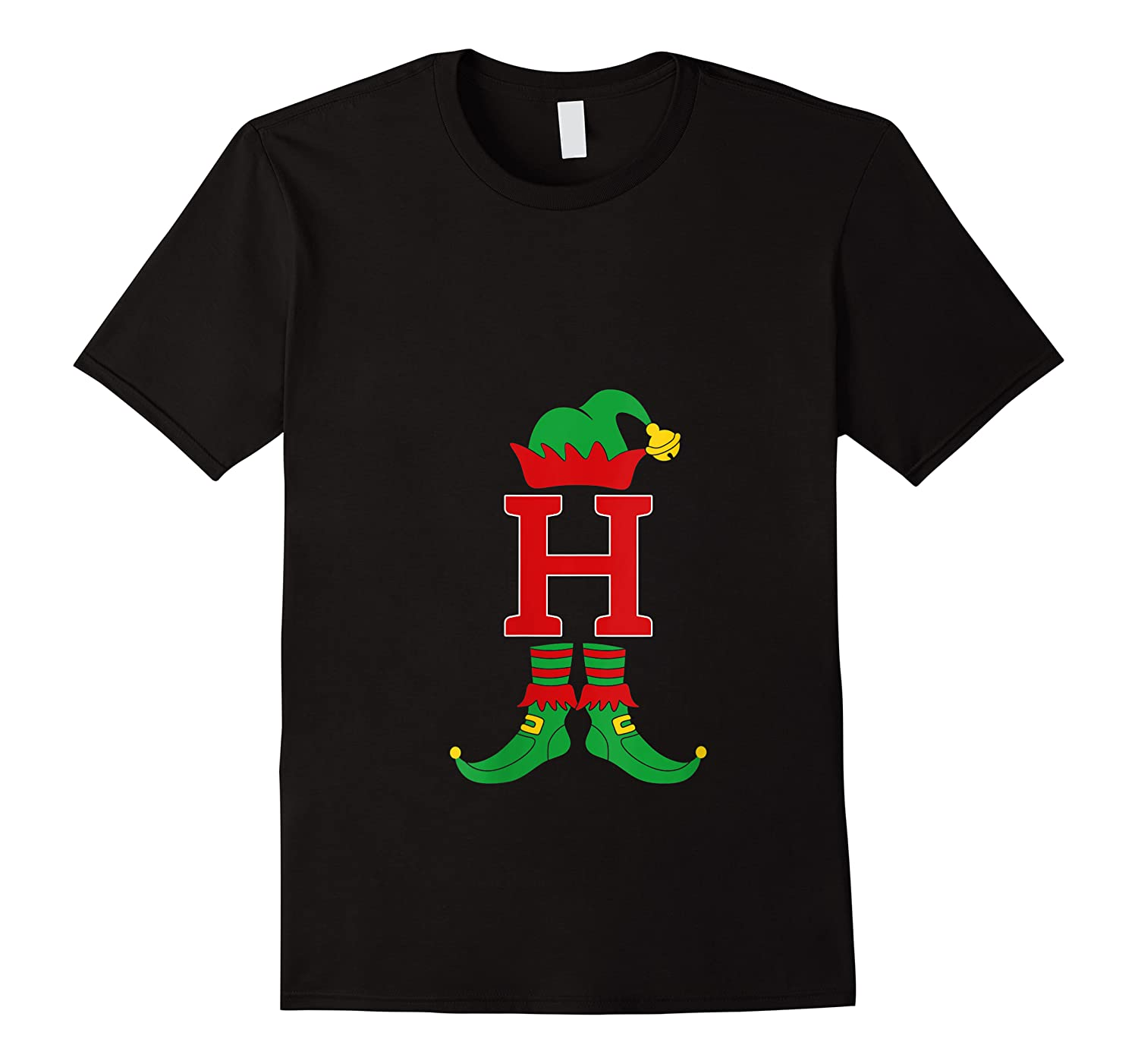 Elf Initial H Matching Family Group Christmas Holiday Gift T-shirt