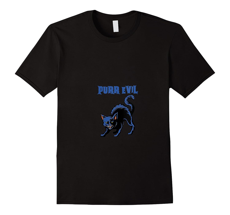 Purr Evil Scary Halloween Spooky Black Cat Monster Demon T Shirt