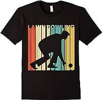 Vintage Style Lawn Bowling Silhouette T-shirt Black