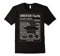 Writer Facts Storyteller Nutrition Information T Shirt Black