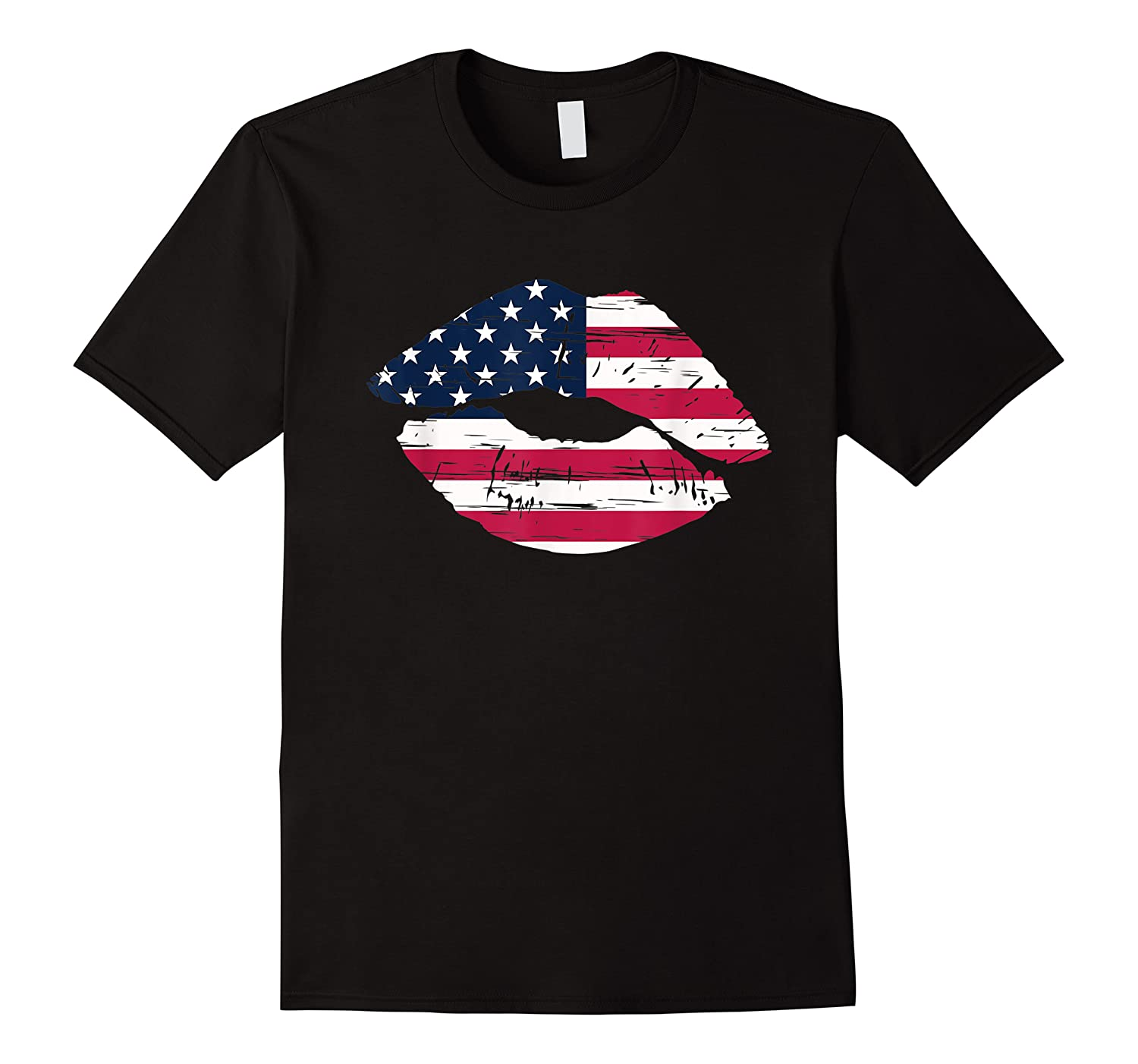 Cool Lips With American Flag Girl 4th Of July Gift Shirts