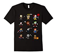 Friends Pixel Halloween Icons Scary Horror Movies T Shirt Black
