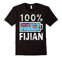 Fiji Flag T Shirt 100 Fijian Battery Power Tee Black