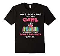 Funny There Was A Girl Who Really Loved Books Dogs Librarian Premium T Shirt Black