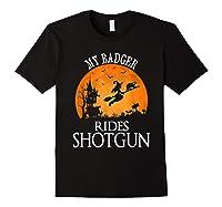 Badger Rides Shotgun Animal Lover Halloween Party Gift Shirts Black