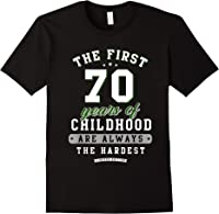 70th Birthday Funny Gift Life Begins At Age 70 Years Old T-shirt Black