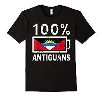 Antigua Barbuda Flag Shirt 100 Antiguans Battery Power Black