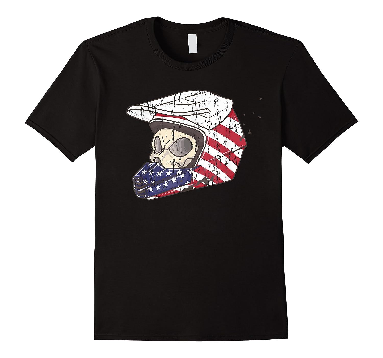 Usa Flag American Skull Helmet Patriotic Motorcyclist T Shirt