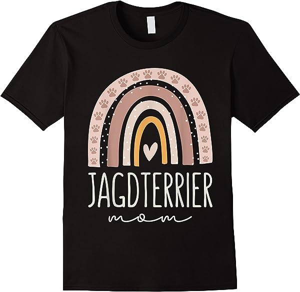 Jagdterrier Mom Shirt Cute Rainbow Paw Dog Mom T-shirt