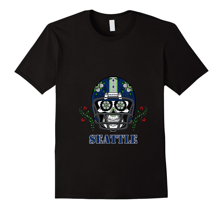 Seattle Football Helmet Sugar Skull Day Of The Dead T Shirt