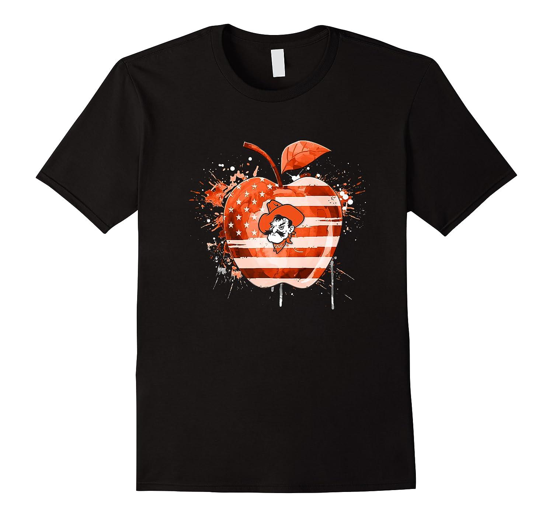 Oklahoma State Cow Nation Flag T Shirt Apparel