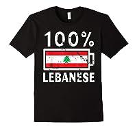 Lebanon Flag T Shirt 100 Lebanese Battery Power Tee Black