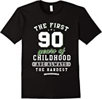 90th Birthday Funny Gift Life Begins At Age 90 Years Old T-shirt Black