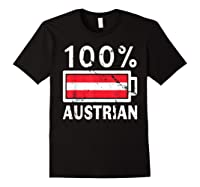 Austria Flag T Shirt 100 Austrian Battery Power Tee Black